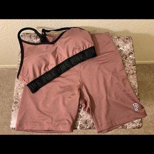 Pink High Waist Bike Shorts W/ Matching Bra